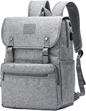 HFSX Backpack Bookbags Laptop Backpack for Women Men Vintage Backpack College Backpack Travel Bookbag Laptop Bookbags with USB Charging Port Gray Backpacks Fits 15 inch Notebook