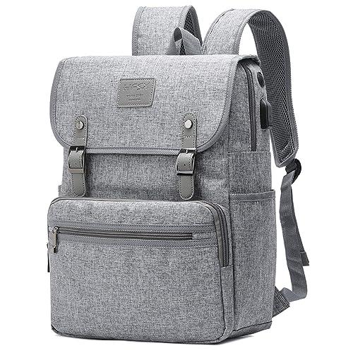 HFSX Backpack Bookbags Laptop Backpack for Women Men Vintage Backpack College Backpack Travel Bookbag Laptop Bookbags with USB Charging Port Gray Backpacks Fits 15.6 inch Notebook