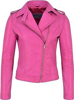 Carrie CH Hoxton Chaqueta de Cuero Real de Brando para Mujer Estilo de Motociclista de Piel de Cordero 100% Casual 442