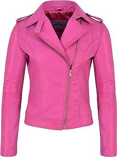Ladies Brando Leather Jacket Fuchsia Pink Fashion Biker Rock Style Real Lambskin 442