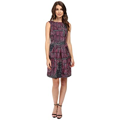 Donna Morgan Box Pleat Poly Twill Fit and Flare Dress (Flux Multi) Women