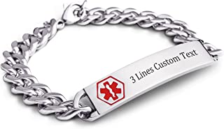 Custom Engraved Adult Stainless Steel Surgical Medical Alert ID Tag Bracelets Link Chain Wrist