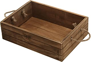 Rustic Style Wood Storage Crate Open Top Organizer Bin with Rope Handles Brown