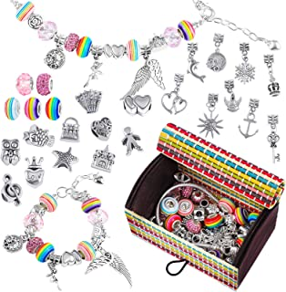 ADXCO 61 Pack Jewellery Making Kit DIY Charm Bracelet Making Sets with Gift Box Silver Plated Beads Chains Crafts Charm Br...