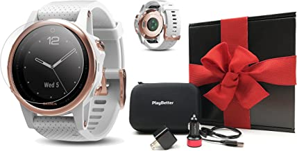 Garmin Fenix 5S Sapphire (Rose Gold with White Band) Gift Box Bundle   Includes HD Screen Protectors, PlayBetter USB Car/Wall Adapters, Hard Protective Case   Multi-Sport Watch, Wrist HR   Gift Box