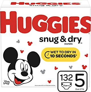 Huggies Snug & Dry Diapers, Size 5 (27+ lb.), 132 Ct, Giant Pack (Packaging May Vary)