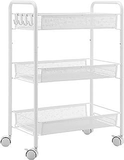 EKNITEY メタルラック キッチンワゴン メタル メッシュ キッチン カート 防錆 小物収納 サイドワゴン 3段 幅26.5×奥行45.5×高さ63.5cm