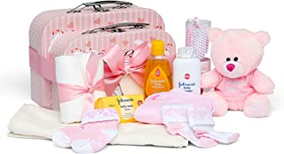Baby Gift Set – Baby Shower Hamper inPink with Baby Clothes, Teddy Bear and Gifts..