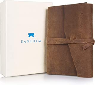 Handmade Leather Journal Notepad – Leather Bound Daily Unlined Notebook To Write In, Travel Diary And Art Sketchbook, Cotton Paper 8x6 Inches, Best Gift For Men And Women With A Gift Box Included