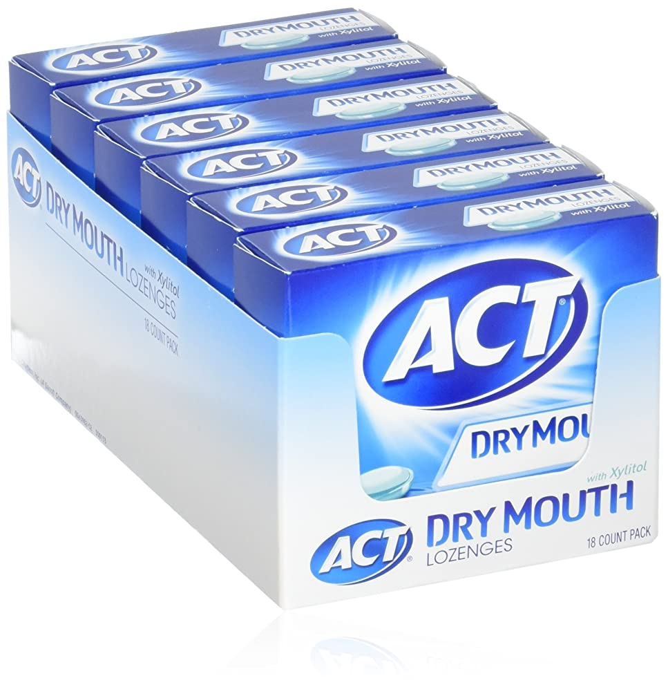 ACT Total Care, Dry Mouth Lozenges, 18 Count (Pack of 6), Soothing Mint Flavored Lozenges with Xylitol Help Moisturize Mouth Tissue to Sooth and Relieve Discomfort from Dry Mouth, Freshens Breath