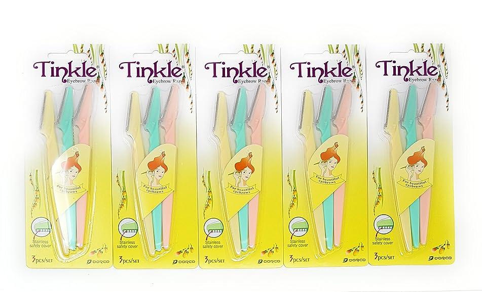 TINKLE DORCO EYEBROW RAZOR, 5 PACKS (15 RAZORS)
