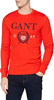 GANT Men's D1. 1949 Crest C-Neck Sweat Sweatshirt, Lava Red, 667