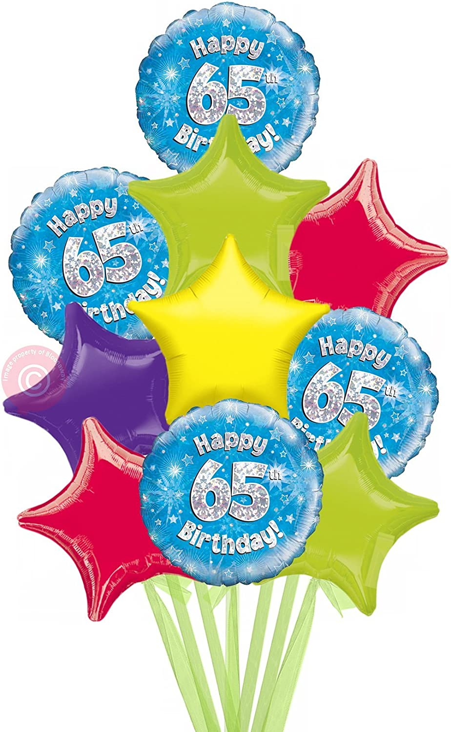 Num 65 Happy 65th Birthday bluee Holographic  Inflated Birthday Helium Balloon Delivered in a Box  Biggest Bouquet  10 Balloons  Bloonaway