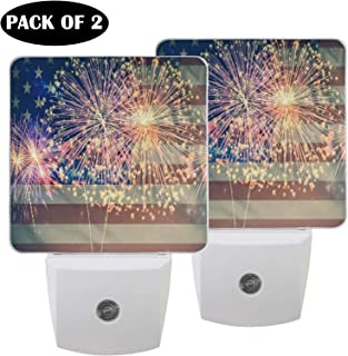 American Memorial Day Patriotic Red Star Stripe Led Night Light Plug in Set of 2 for Bedroom Bathroom Kitchen Hallway, Independence Day 4Th of July Nightlights Auto Senor Dusk to Dawn for Kids Adults