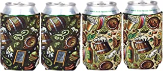 Can Sleeves for Standard Cans, Blank Poly Foam Can Cooler for 12oz Cans Beer Set of 4 (Hamburger)
