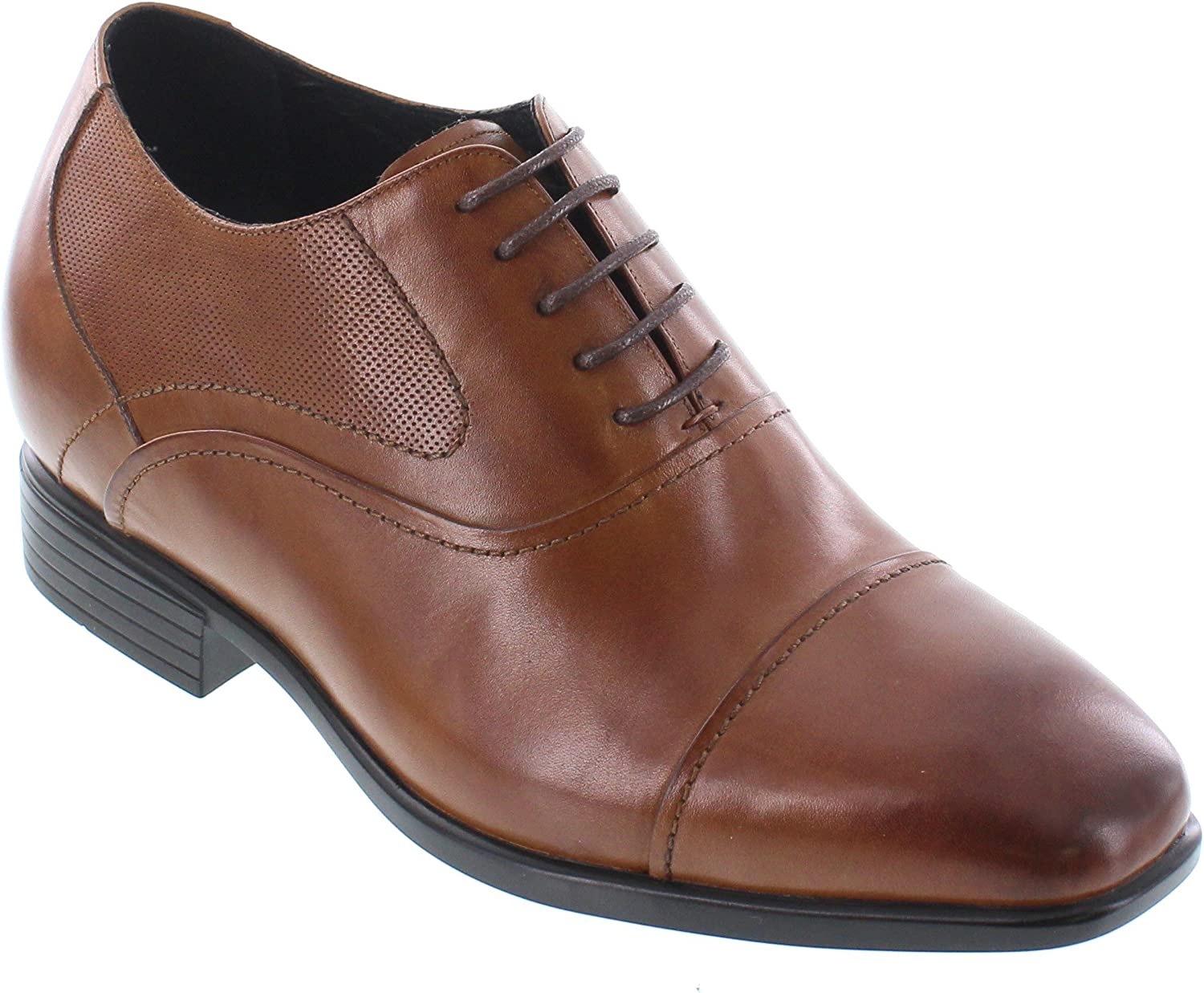 CALTO Men's Invisible Height Increasing Elevator shoes - Brown Premium Leather Lace-up Lightweight Formal Oxfords - 3.2 Inches Taller - Y4093