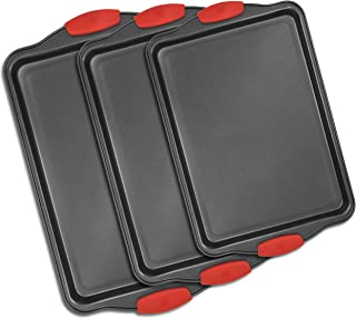 3 Piece Nonstick Bakeware Set, Premium Nonstick Cookie Sheet Pan Set, Professional Steel Pan Baking Sheets With Silicone Handles, Baking Supplies Rectangle Cookie pans 3 Different Sizes By Perlli