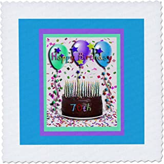 3dRose qs_20205_1 Happy Birthday 70th Chocolate Cake Quilt Square, 10 by 10-Inch