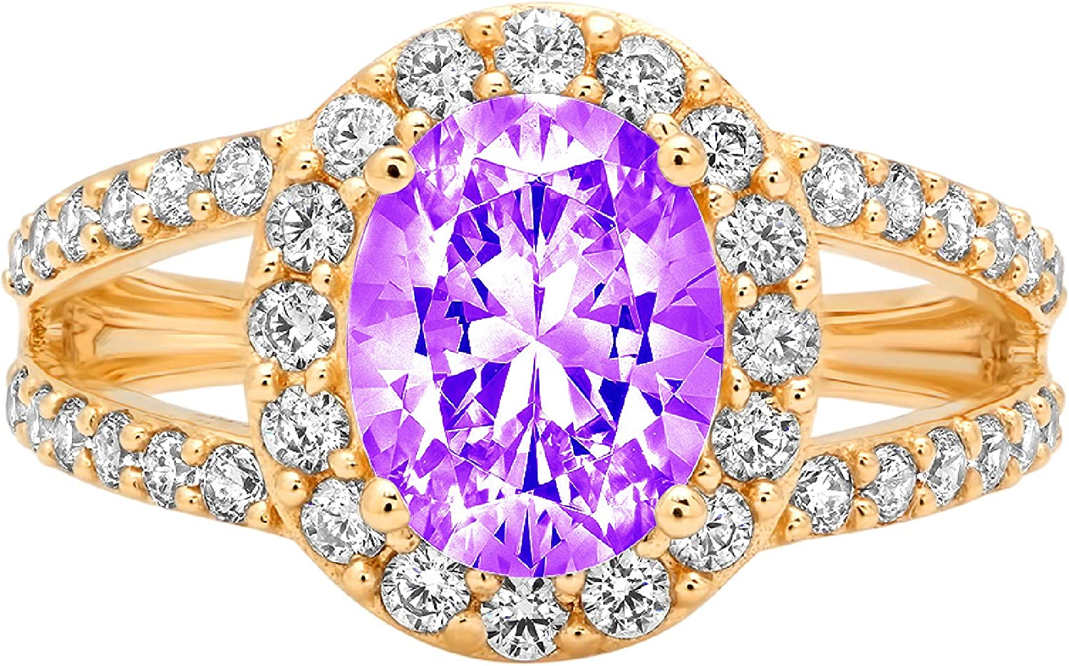 2.18ct Oval Cut Solitaire with Accent Halo split shank Natural Purple Amethyst Gem Stone Ideal VVS1 Engagement Promise Statement Anniversary Bridal Wedding ring 14k Yellow Gold