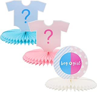 Blue Panda Gender Reveal 3-Piece Set Table Decorations - Baby Boy or Girl Honeycomb Centerpiece Party Supplies, 12 x 9 Inches
