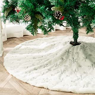 Best white faux fur christmas tree skirt Reviews