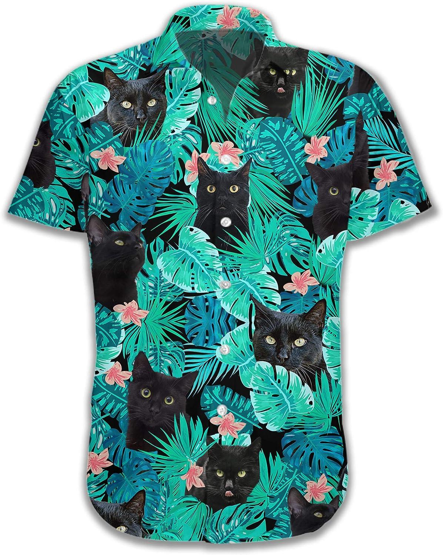 Funny Black Cat Button Down Short Sleeve Cat Lover Tropical Holiday Summer Beach Hawaiian Shirt