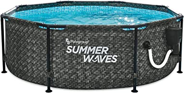 Summer Waves P2A00830A Active Metal Frame 8ft x 30in Round Above Ground Wicker Gray Swimming Pool w/Skimmer Plus Pool Filter