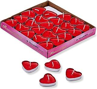 THE TWIDDLERS - 50 Velas Corazón Rojo (3.8cm) - Candelitas Románticas Sin Humo
