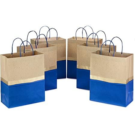 """Hallmark 13"""" Large Paper Gift Bags (Pack of 6 - Blue & Kraft) for Hanukkah, Birthdays, Weddings, Graduations, Father's Day, Baby Showers, Bridal Showers"""