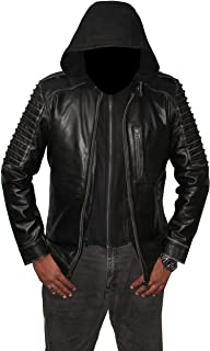 Men 's Squad and Suicide Killing Hooded Leather Jacket