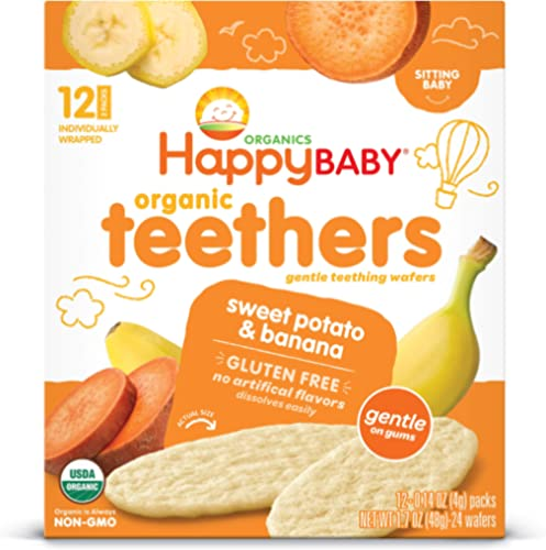 Happy Baby Gentle Teethers Organic Teething Wafers Banana Sweet Potato, 12 Count Box (Pack of 6) Soothing Rice Cookie...