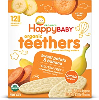 Happy Family Organics Stage 1 Gentle Organic Teething Wafers Pouch - Banana Sweet Potato, Gluten-Free Biscuits, 48 gm