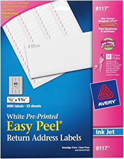 Avery Easy Peel Address Labels for Ink Jet Printers, Preprinted Pink BCA Ribbon, 0.5 x 1.75 Inch, White, Permanent, Pack of 2000 (8117)
