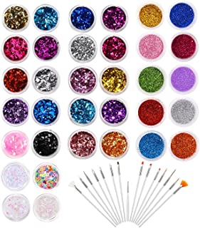 34 Boxes Glitter Set with 15 PCS Nail Art Brushes, Multi-color Power Sequins Iridescent Flakes,Glitter Shimmer Dust Powderfor Nail Art Decoration, Craft, Makeup, Paints, Slime Supplies