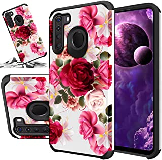 STORM BUY Red Floral Phone Case Compatible for [ Samsung Galaxy A11 Case [Shock Absorption] Dual Layer Heavy Duty Pink Ros...