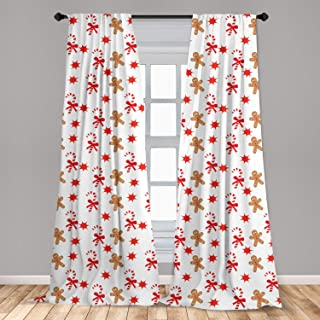 Ambesonne Gingerbread Man 2 Panel Curtain Set, Candy Cane with Bowties Red Star Gingerbread Man Pattern, Lightweight Window Treatment Living Room Bedroom Decor, 56