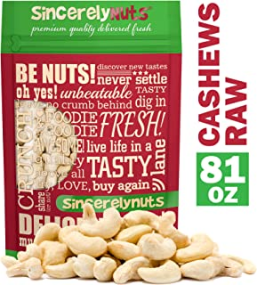 Sincerely Nuts - Raw Cashews Whole and Unsalted | Five lbs. Bag | Deluxe Kosher Snack Food | Healthy Source of Protein, Vitamin & Mineral Nutritional Content | Gourmet Quality Vegan Cashew Nut