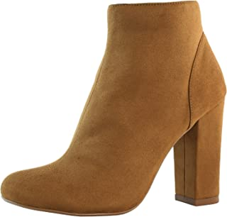 Women's High Heel Boots Round Toe Ankle Cowboy Bootie Perfect for Casual Day or Night Wear
