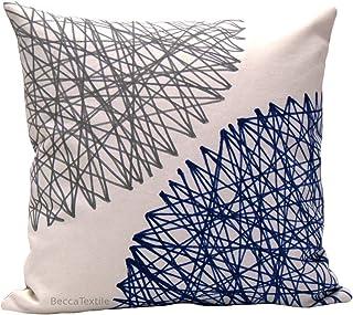 Funda de cojín de lino algodón azul y gris, cojín con dibujo geométrico 40 x 40 cm y más medidas, BeccaTextile.