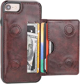 iPhone 7 Wallet Case iPhone 8 Wallet Case with Credit Card Holder, KIHUWEY Premium Leather Kickstand Durable Shockproof Protective Cover for iPhone 7/8 4.7 Inch(Brown)