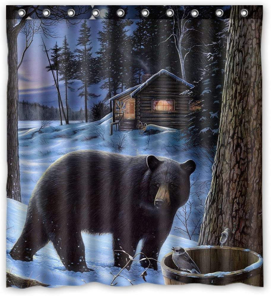 LUSKF Custom Max 61% OFF Winter Bear Fashion Polyester Curtain Bathroo Shower Fabric