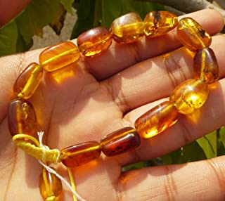 100% Natural Untreated Myanmar Amber Fossil Bracelet Burmite Neolithic Gems Natural Inclusion Bead Polished