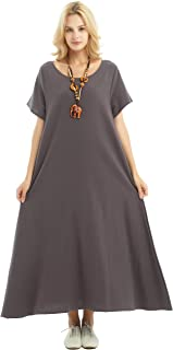 Anysize Spring Summer Soft Linen Cotton Loose Dress Plus Size Clothing F131A