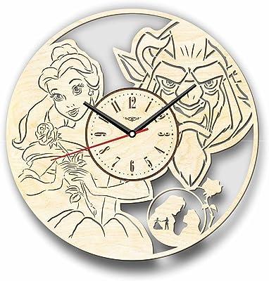 The Beauty and The Beast 美女と野獣木製掛け時計ー完璧で美しく作られたー現代アートで自宅を飾ろうー彼と彼女にユニークなギフトーサイズ12インチ(30 ㎝)