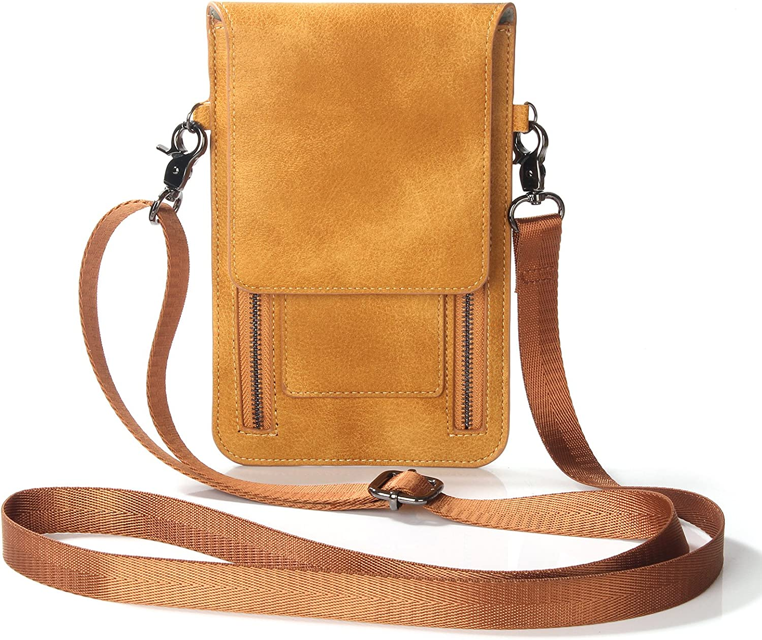 PU Leather Roomy Women Cell Phone Sleeve Purse Carrying Case Crossbody Bag Cards Slot for iPhone X/8 Plus/Samsung Galaxy Note 8/S9 Plus/LG G7 ThinQ/G6/Stylo3/Motorola Moto Z2 Force/Z3 Play/G6 (Tan)
