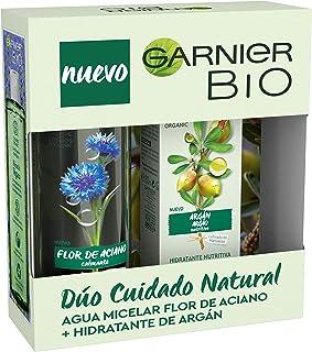 Garnier Bio Kit Cuidado Natural de Agua Micelar con Agua de Flor de Aciano y Crema Hidratante Nutritiva con Aceite Argán ...