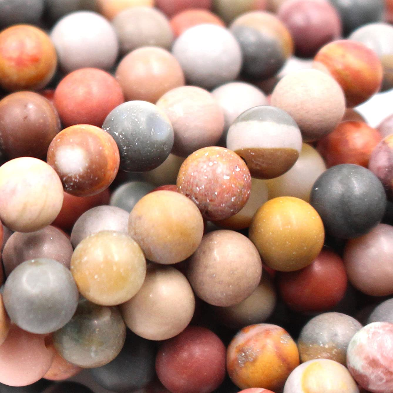 Natural Unpolished Colorful Ocean Agate Round Jewerlry Making Gemstone Beads (6mm)