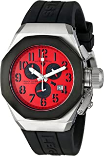 Men's 10542-05-BB Trimix Diver Chronograph Red Dial Black Silicone Watch