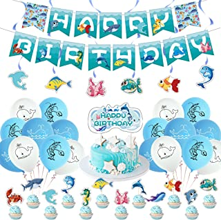 Ocean Theme Party Supplies, Including Tropical Ocean Banners, Hanging Swirls, Latex Balloons, Cake Decoration and Cupcake ...