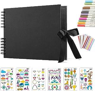 Album Photo Scrapbooking Traditionnel,DIY Album Photo Scrapbooking Livre Photo Mémoire,12 Couleurs Stylos Marqueurs et 6 F...